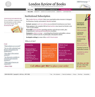 LRB Institutional Subscriptions